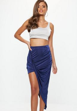 Blue Acetate Slinky Drape Mini Skirt