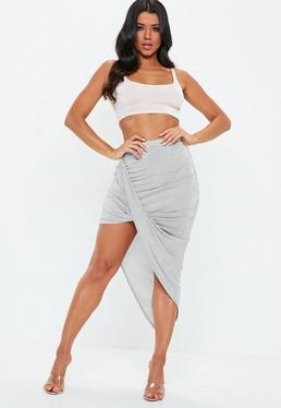 Silver Acetate Slinky Drape Mini Skirt