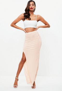Nude Slinky Split Side Maxi Skirt