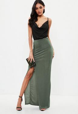 Green Slinky Split Side Maxi Skirt