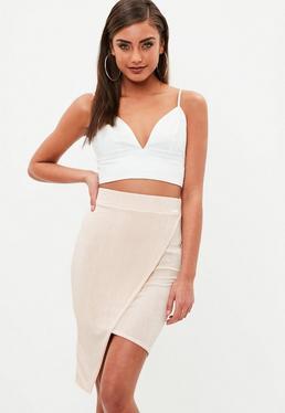 Nude Slinky Wrap Asymmetic Midi Skirt