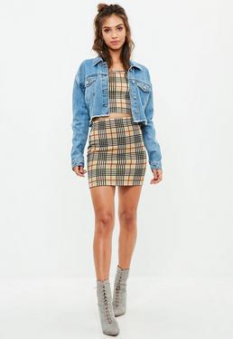 Yellow Scuba Mini Skirt and Bralet Set