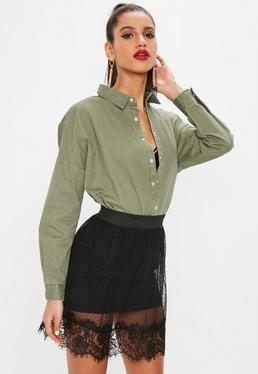 Black Dobby & Lace Skater Skirt