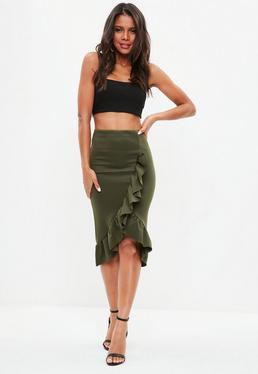 Khaki Ruffle Midi Skirt