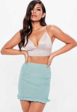 Green Ribbed Frill Hem Mini Skirt
