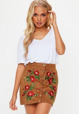 Tan Suedette Embroidered Button Mini Skirt