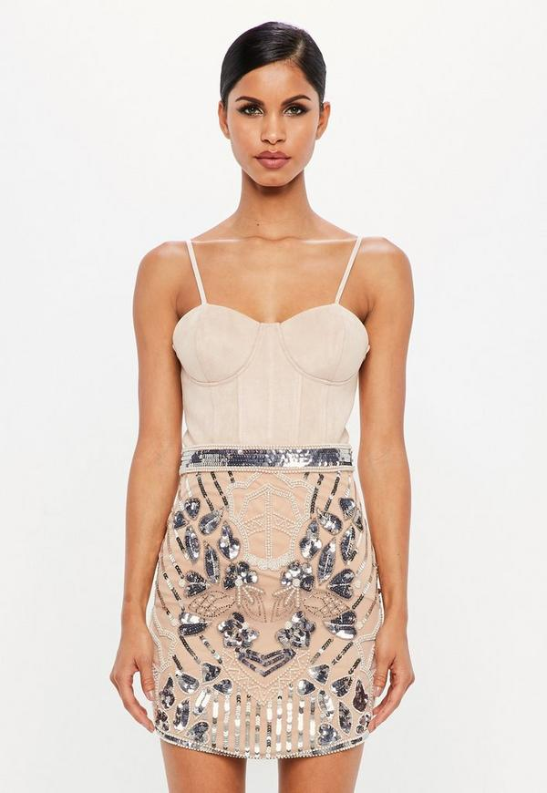 Peace + Love Nude Embellished High Waist Mini Skirt by Missguided