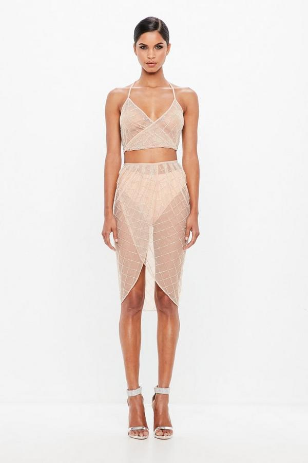 Peace + Love Nude Embellished Sheer Skirt by Missguided