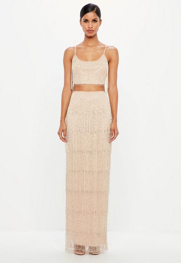 jupe longue nude à franges ornementées peace + love. 150,00 €. ensemble  crop top et jupe midi beige b99dfadc1746