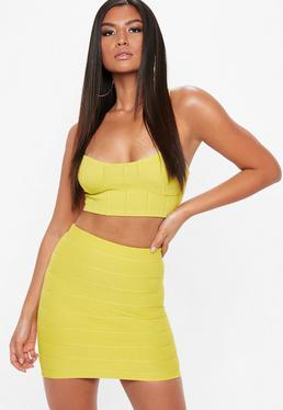 Yellow Bandage Basic Mini Skirt