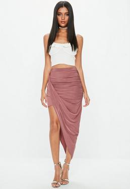 Mauve Disco Slinky Midi Aysm Skirt