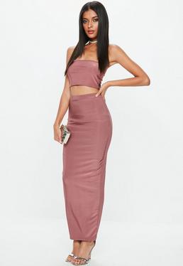 Mauve Disco Slinky Midaxi Skirt
