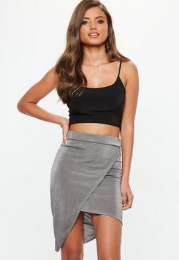 Grey Metallic Slinky Wrap Front Asymmetric Midi Skirt