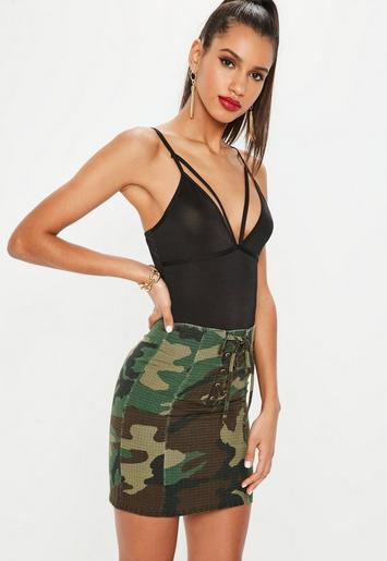Khaki Lace Up Front Camo Mini Skirt Missguided Ireland