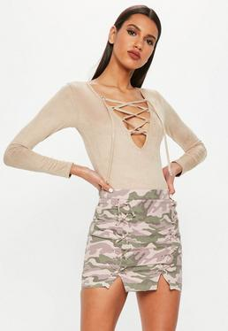 Pink Lace Up Front Camo Mini Skirt
