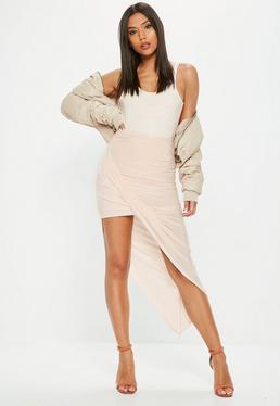Nude Disco Slinky Asymmetric Midi Skirt