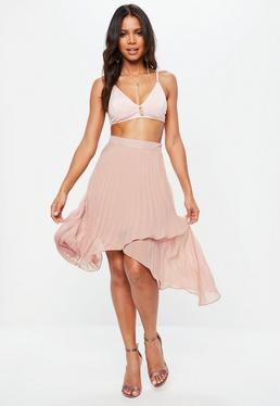 Pink Pleated Asymmetric Wrap Midi Skirt