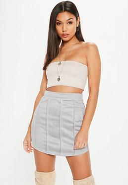 Grey Faux Suede Detail Curve Hem Mini Skirt