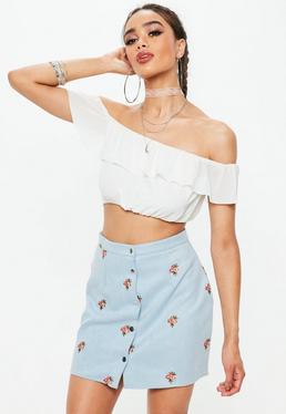 Niebieska zamszowa spódniczka mini