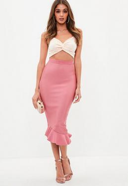 Pink Bandage Asymmetric Frill Midi Skirt