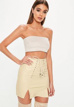 Cream Split Lace Up Front Faux Suede Mini Skirt