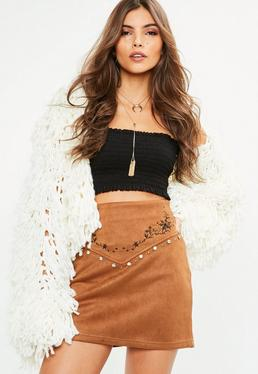 Brown Faux Suede Embroidered Stud Detail Mini Skirt