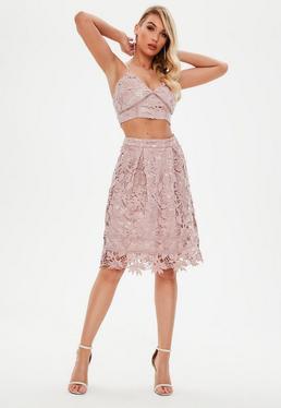 Pink Crochet Lace High Waisted Midi Skater Skirt