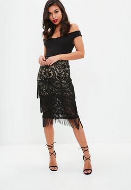 Black Lace Tiered Tassel Midi Skirt