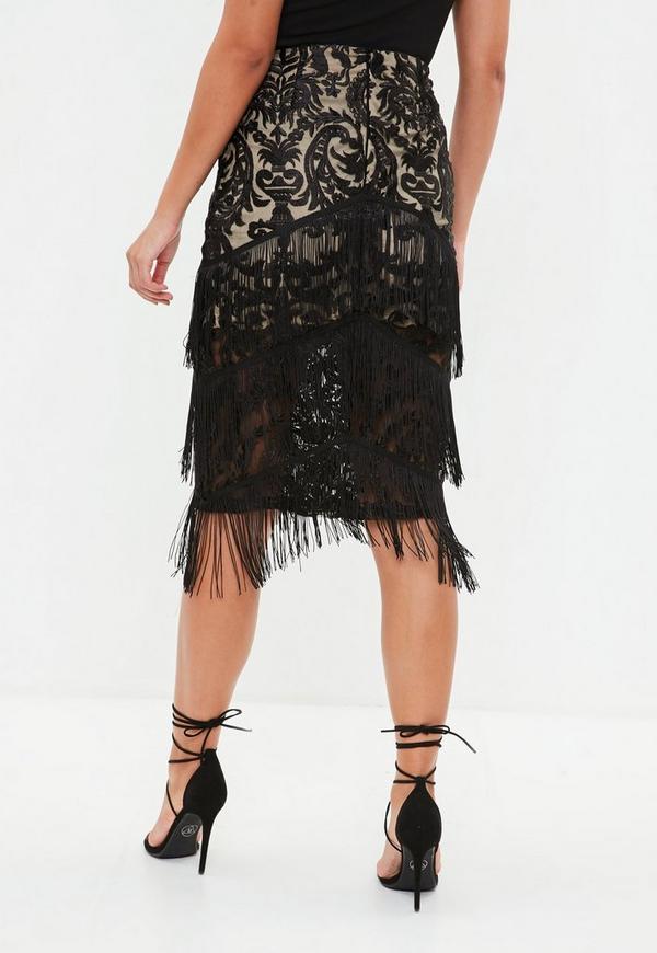 Black Lace Tiered Tassel Midi Skirt Missguided