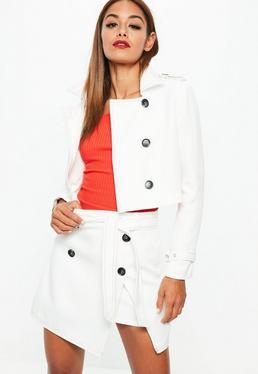 White Contrast Stitch Tie Front Button Detail Mini Skirt