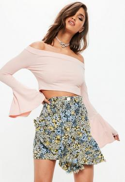 Blue Jacquard Floral Print Ruffle Front Skirt