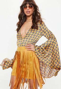 Żółta zamszowa spódnica mini z frędzlami