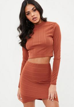 Rust Bandage Asymmetrical Mini Skirt