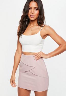 Pink Pinstripe Folded Mini Skirt
