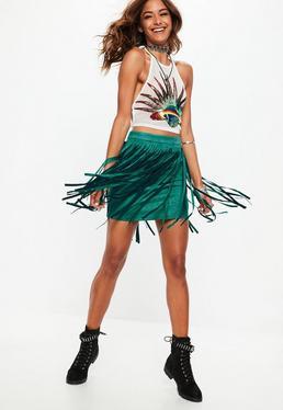 Forest Green Fringe Suede Mini Skirt - FESTIVAL