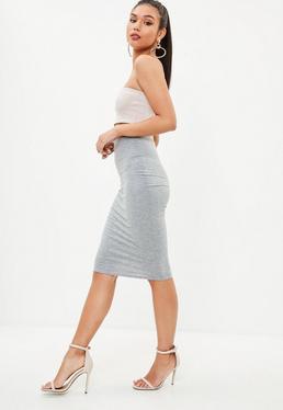 Grey Jersey Midi Skirt