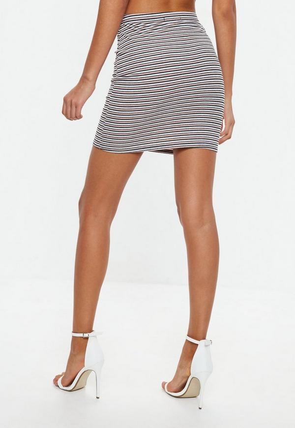 camel ribbed stripe bodycon mini skirt missguided ireland