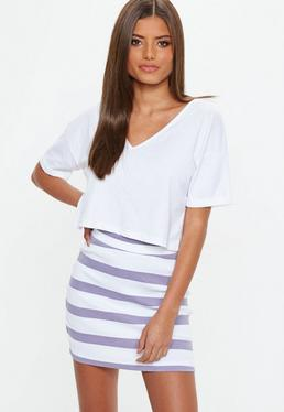 Purple Striped Jersey Mini Skirt
