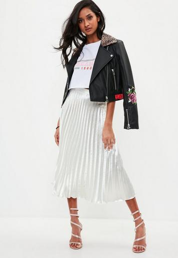 white pleated full midi skirt
