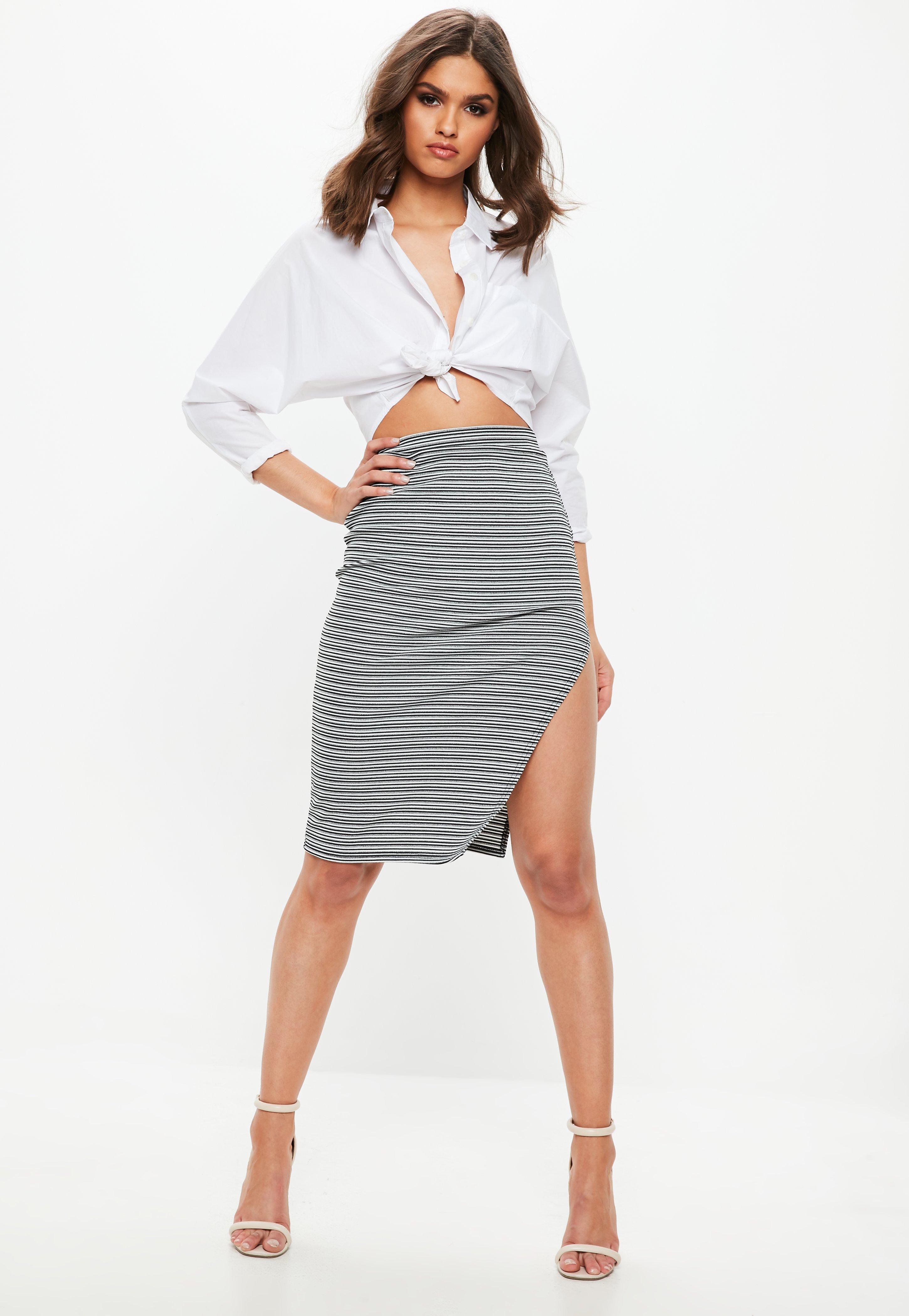 ... Black Ribbed Stripe Split Midi Skirt