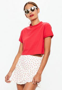 White Wrap Frill Lip Print Skirt