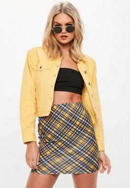Black Check Print Scuba Mini Skirt
