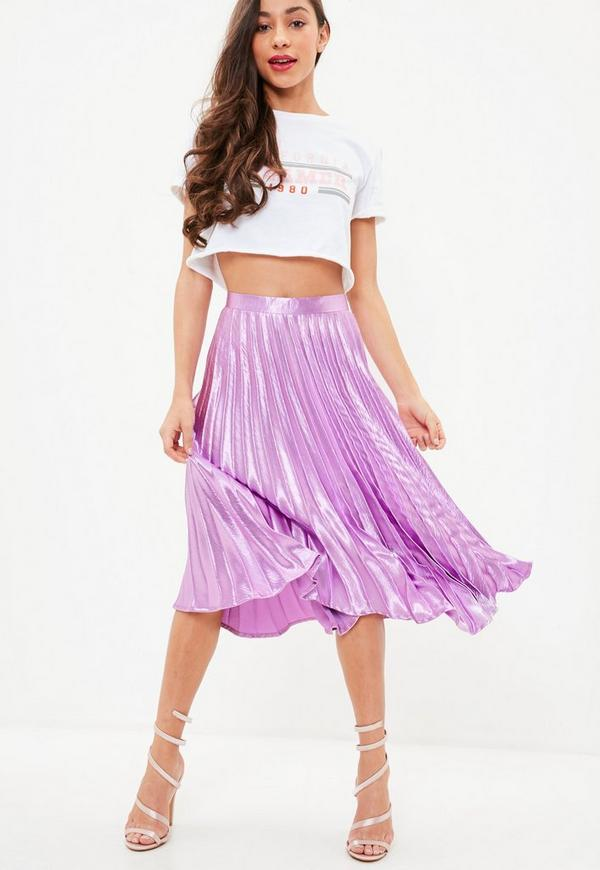 Purple Pleated Full Midi Skirt by Missguided