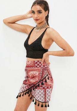 Orange Paisley Tassel Scuba Skirt