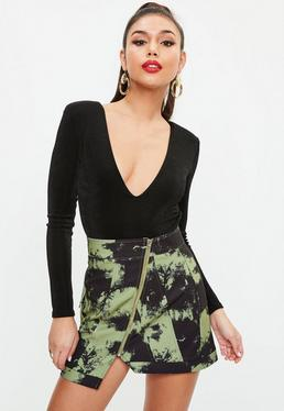 Khaki Camo Print Zip Front Mini Skirt