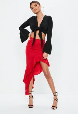 Red Asymmetric Hammered Satin Midi Skirt