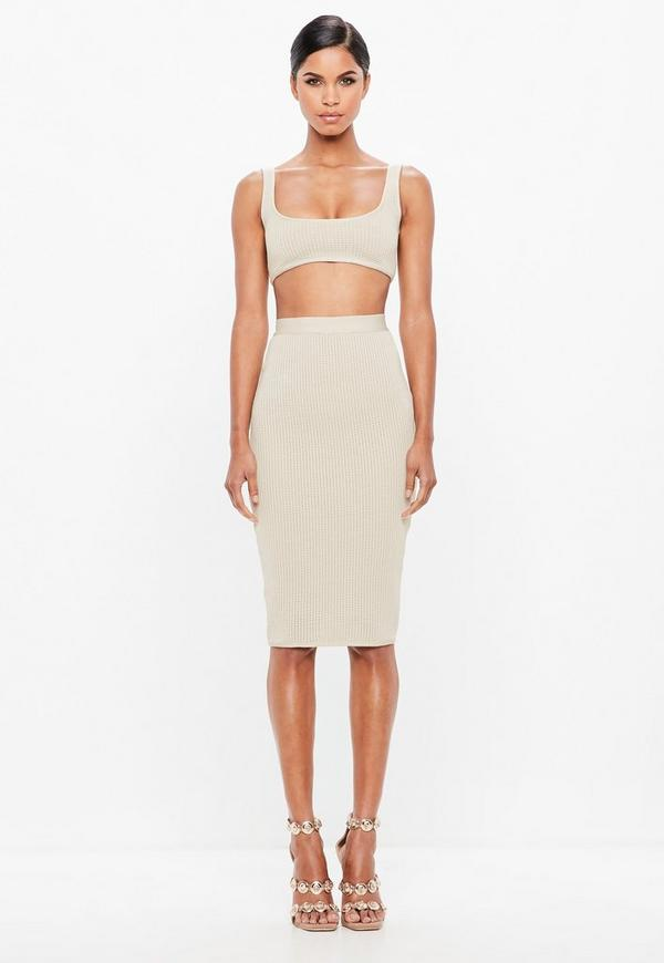 peace-+-love-cream-bandage-skirt by missguided