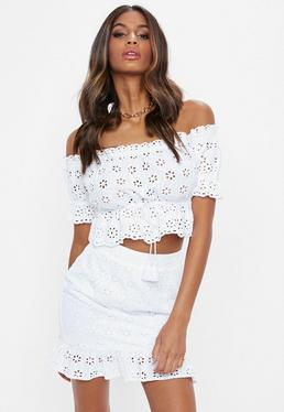 White Broderie Wrap Frill Mini Skirt