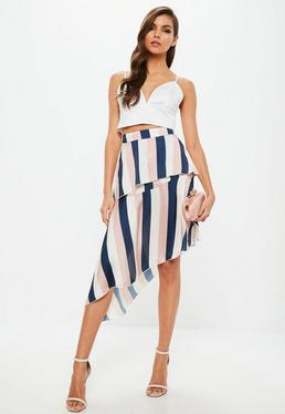 Pink Satin Stripe Layer Asymmetric Midi Skirt