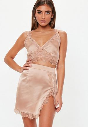 8ba3c28daf0fc £11.00. pink satin extreme slit lace ...